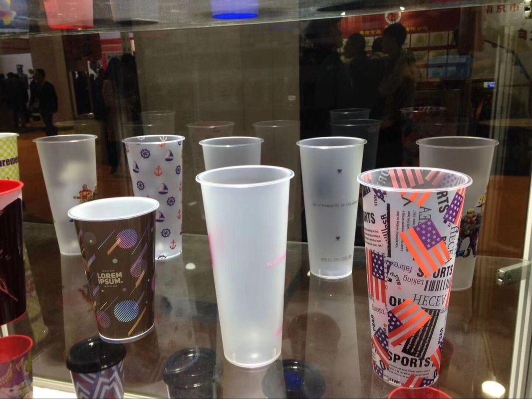 17oz 500ml Custom Printed Disposable Cups , PP Plastic Cup With Dome Lid